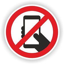 NO PHONE CELLPHONE SMARTPHONE INTERDICTION WARNING VINYL STICKER BUMPER
