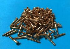 "100 Solid Brass Countersunk Slotted Wood Screws 4g x 3/4"" British Made"