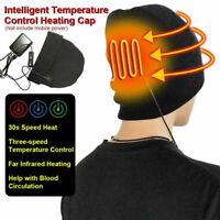 Men Women Rechargeable Electric Heated Hat Intelligent Warm Cap for Outdoor Ski