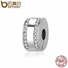 Bamoer hot European .925 Sterling Silver Clip Charm With Clear CZ Fit Bracelets