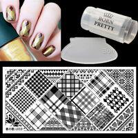 3Pcs Nail Art Stamp Image Plate Gold Stamping Polish Clear Stamper W/Scraper Kit