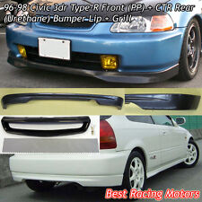 TR Style Front Lip (PU) + CTR Rear Lip (PU) + Grill (Mesh) Fit 96-98 Civic 3dr