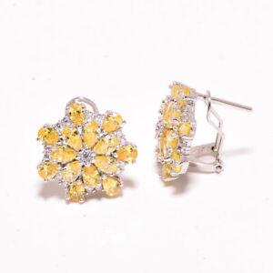 """Brazilian Lemon Topaz & White Topaz 925 Sterling Silver Earring 0.75"""" M21528"""
