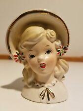 Vintage Christmas Inarco Blond Girl w/Poinsettias & Gold Trim Head Vase, #E-1274