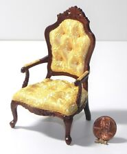 Dollhouse Miniature Rococco Chair Gold 1:12 Scale