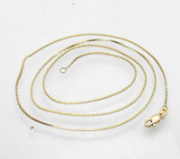 """18"""" Venetian Square Box Chain Necklace Lobster Lock Real Solid 10K Yellow Gold"""