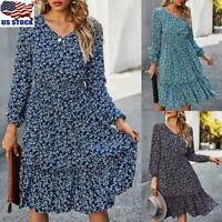 Womens Ladies V-Neck Vintage Floral Print Long Sleeve Ruffle Swing Midi Dress US