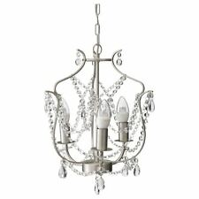New In Box Ikea Kristaller 3 Armed Silver & Glass Adjustable Height Chandelier