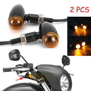Black Bullet Motorcycle LED Turn Signals Amber Light for Harley Street Glide 2X