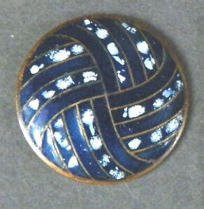 Bb Pinwheel Pattern Antique Navy Blue ENAMEL BUTTON medium