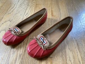 Women's Hunter Waterproof Ballet Flats Loafers Shoes Size 8 Red