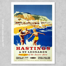 BR Hastings & St Leonards Poster #5 - Railway Posters, Retro Vintage Travel P...