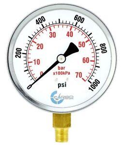 "4"" Pressure Gauge - Chrome Plated Steel Case, 1/4""NPT, Lower Side Mnt. 1000 PSI"