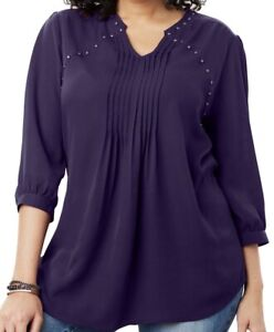 Woman Within Blouse Plus Size 18/20 22/24 26/28 30/32 34/36 Studded Shirt  227
