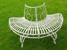 Antique Metal Iron Garden Patio Chair Bench Outdoor Decorative Half Tree Seat