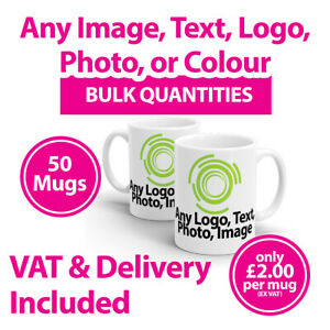 50 Promotional Mugs Cups Any Image, Text or Logo - Personalised Mugs - Printed
