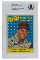 Stan Musial Signed 1958 Topps #476 St. Louis Cardinals Baseball Card BGS