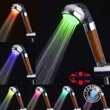 7 LED Alta Pressione Soffione Doccia Spa Tubo Bagno Potente Energia