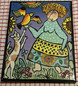 Whimsical Art Tile by Pat Custer Denison (Signed/Limited Edition)