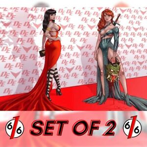 🚨🔥 VAMPIRELLA & RED SONJA ORTIZ Virgin Red Carpet Variant Set LTD 500 COA