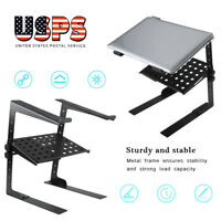 Folding DJ Laptop Stand – Computer Table Top PC Rack Clamp Mount Holder w/ Tray