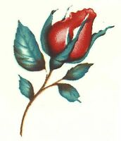 Long Stemmed Red Rose Bud Flower Select-A-Size Waterslide Ceramic Decals Hx