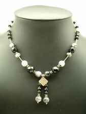 Black Onyx & Rutilated Quartz   Necklace, .925, Sterling and Silver