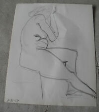 Vintage 1959  Pencil Drawing of Sitting Nude Woman LOOK