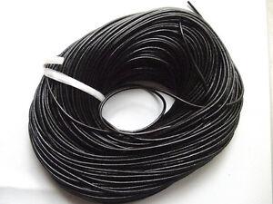 1mt di cordino  filo in Pelle cuoio 3mm colore nero per bracciale,collana