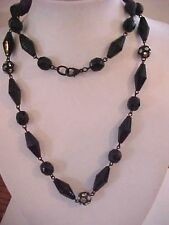 """Black Bead Necklace Crystal Disco Ball Necklace Pave Beads 28"""""""