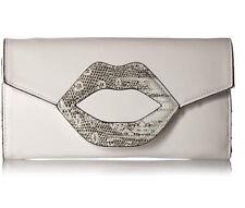 Circus by Sam Edelman Analia Clutch Shoulder Strap Bag Purse White Lips