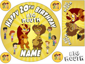 BIG MOUTH INSPIRED PERSONALISED EDIBLE ICING CAKE TOPPER UP TO A3