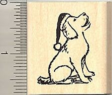 Dog in Santa hat Christmas Rubber Stamp WM C7604