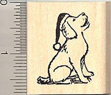 Dog in Santa hat Christmas Rubber Stamp WM C7604