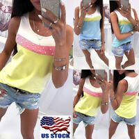 Women Sexy Sleeveless Tank Vest Tops Summer Beach Party Casual Blouse T Shirt US