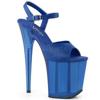 Pleaser FLAMINGO-809T Women's Blue Faux Leather Frosted Heel Ankle Strap Sandals