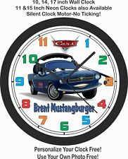 """CARS THE MOVIE """"BRENT MUSTANGBURGER"""" Mustang WALL CLOCK-Add Child's Name Free!"""