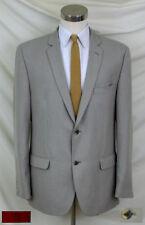 "(44L) ""Slim Fit"" White & Tan Birdseye Jacket / Narrow 2.5"" Lapel / Double Vent"