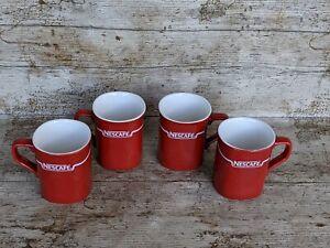 Vintage NESCAFE Mugs Red Set of 4