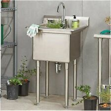 Commercial Kitchen Utility Sink w/Faucet, Indoor/Outdoor