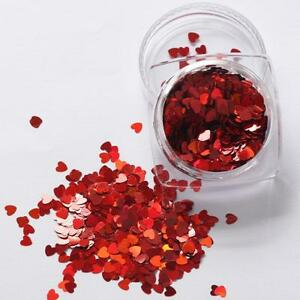 Valentines Nail Art Holographic RED Heart Shape Spangles Glitter 3D Decoration