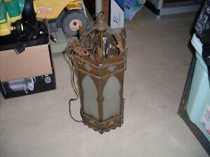Vtg  Hanging brass PENDANT LIGHT FIXTURE Glass church ?????