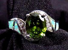Green Lab Fire Opal & 9*7mm Peridot & WT Size 6 Sterling Silver 925 Filled Ring