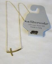Silverworks Cross on Gold Chain 24 Kt over Pure 100 Italy