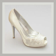 High (3 in. to 4.5 in.) Satin Bridal or Wedding Open Toe Heels for Women