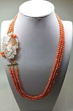 Collana palline di corallo rosa naturale con cammeo artigianale in argento 925