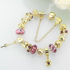 Sterling Silver European Beads Gold Lucky Charm Glass Magnetic Clasp Bracelet