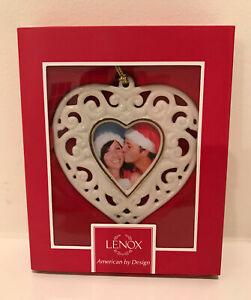 Lenox Cream & Gold Porcelain Filigree Heart Frame Ornament With Gold Tassel NIB