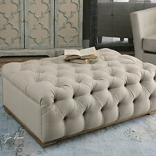"""NEW 43"""" ANTIQUED WHITE LINEN BUTTON TUFTS CUSHIONED TOP OTTOMAN OAK WOOD BASE"""