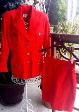 Emanuel Ungaro Skirt Set Red Small - Medium 8-10 40-44 Jacket 2 Pc Safari Womens